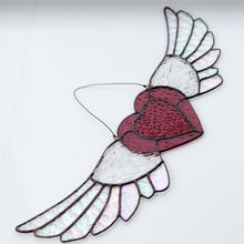 Load image into Gallery viewer, Suncatcher of a stained glass iridescent-winged heart