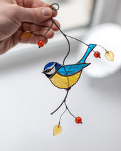 Load image into Gallery viewer, Chickadee stained glass suncatcher Mothers day gift British bird stained glass window hangings bird lover gift
