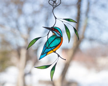 Load image into Gallery viewer, Kingfisher stained glass suncatcher Stained glass bird lover gift for Mothers day Custom stained glass window hangings 7th anniversary gift
