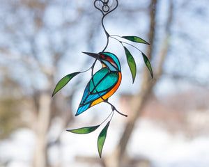 Kingfisher stained glass suncatcher Stained glass bird lover gift for Mothers day Custom stained glass window hangings 7th anniversary gift
