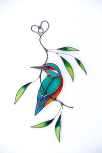 Kingfisher stained glass bird suncatcher Mothers day gift Custom stained glass window hangings bird lover gift