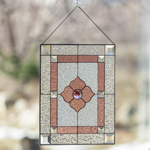 Load image into Gallery viewer, Clear and pink panel with beveled inserts of stained glass