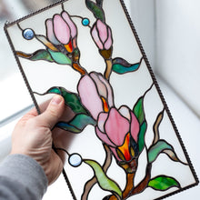 Load image into Gallery viewer, Stained glass panel depicting magnolia flowers for window decoration