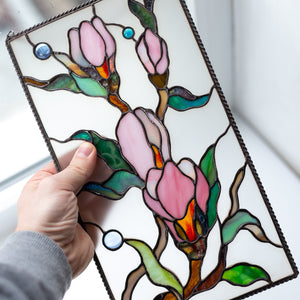Stained glass panel depicting magnolia flowers for window decoration