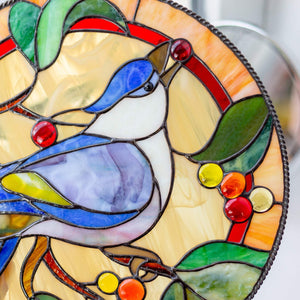 Zoomed stained glass blue jay bird round panel