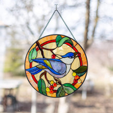 Load image into Gallery viewer, Blue jay bird sitting on the brand with the berries and leaves stained glass panel
