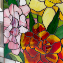 Load image into Gallery viewer, Zoomed stained glass flowers panel