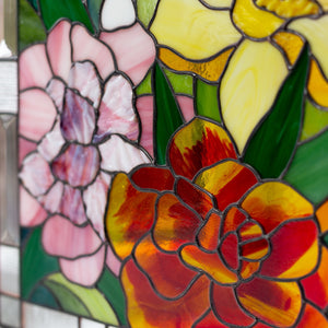 Zoomed stained glass flowers panel