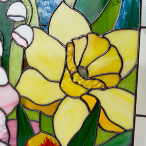 Zoomed stained glass lily flower on panel