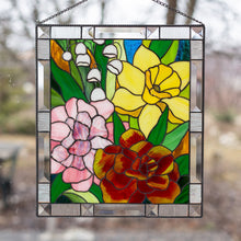 Load image into Gallery viewer, Stained glass panel depicting Marigold, Daffodil, Carnation and Lily for window decoration