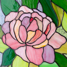 Load image into Gallery viewer, Zoomed stained glass peony panel