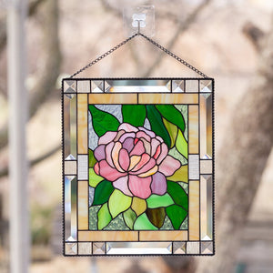 Peony stained glass window hangings mom birthday gift Custom stained glass flower panel wedding parent gift