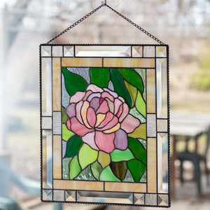 Peony stained glass window hanging panel