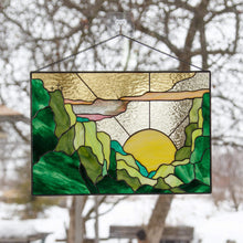 Load image into Gallery viewer, Mountain stained glass panel / Custom stained glass window hangings gift for housewarming, anniversary, birthday