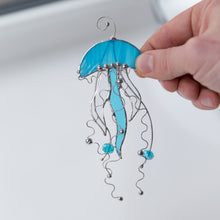 Load image into Gallery viewer, Stained glass blue jellyfish with clear tentacles window hanging