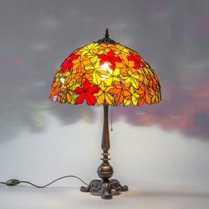 Maple leaves stained glass lampshade with brass lamp base