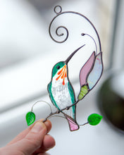 Load image into Gallery viewer, Stained glass hummingbird gift for Mothers Day Stained glass bird suncatcher Custom stained glass window hangings garden decor