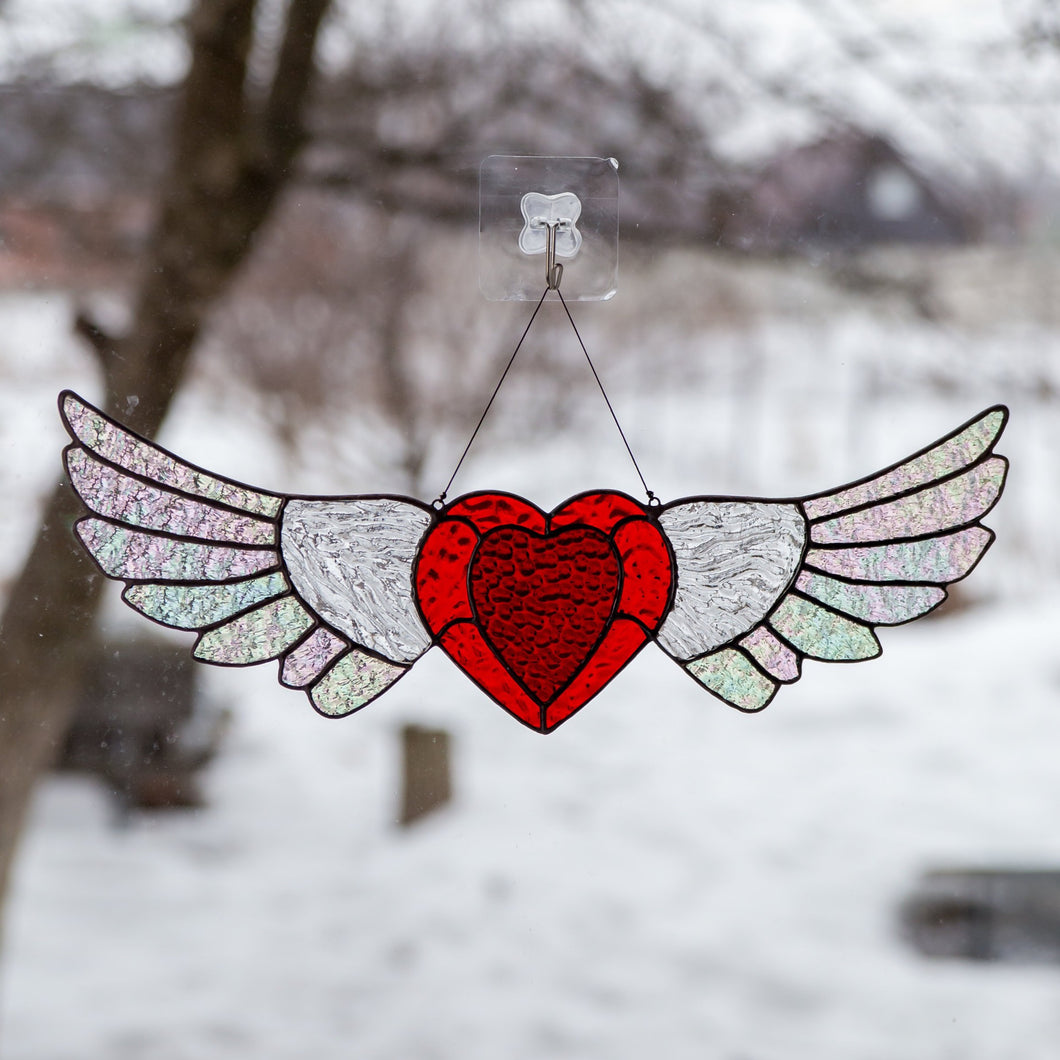 Stained glass heart suncatcher honeymoon gifts Custom stained glass window hangings iridescent wings 7th anniversary gift for wife