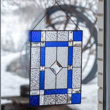 Load image into Gallery viewer, Stained glass clear and cobalt panel with beveled inserts for window decoration