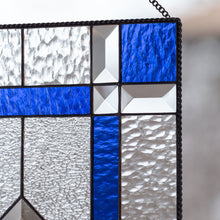 Load image into Gallery viewer, Zoomed stained glass clear and cobalt panel with beveled inserts