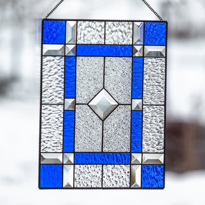 Stained glass cobalt clear panel with beveled inserts