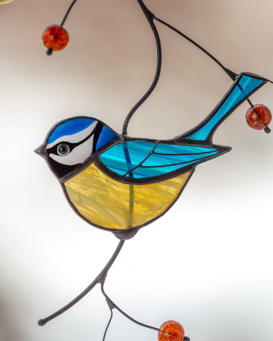Chickadee stained glass suncatcher Mothers day gift British bird stained glass window hangings bird lover gift