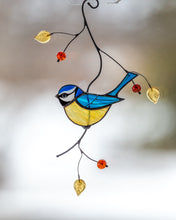 Load image into Gallery viewer, Blue chickadee stained glass suncatcher