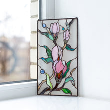 Load image into Gallery viewer, Magnolia flowers on white stained glass background panel