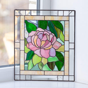 Stained glass peony panel with leaves on the background