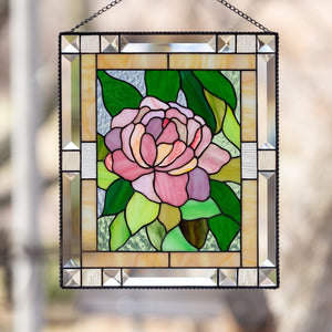 Peony stained glass window hanging for home decor
