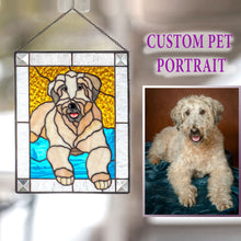 Load image into Gallery viewer, Stained glass panel of a dog for home decor