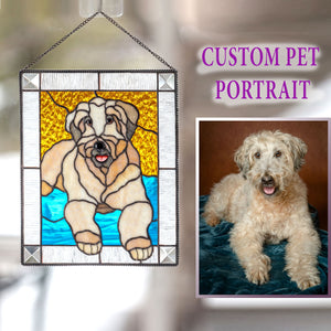 Stained glass panel of a dog for home decor
