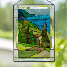 Load image into Gallery viewer, Cape Breton Highlands National Park with its waters and trees stained glass panel