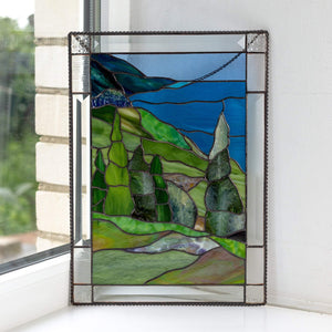 Custom stained glass panel Cape Breton Highlands National Park Mountain stained glass window hangings