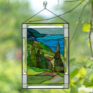 Stained glass panel of Cape Breton highlands national park