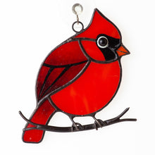 Load image into Gallery viewer, Stained glass cardinal suncatcher memorial gift Custom stained glass window hangings bereavement gift