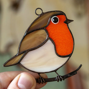 Robin bird stained glass bird suncatcher  Edit alt text