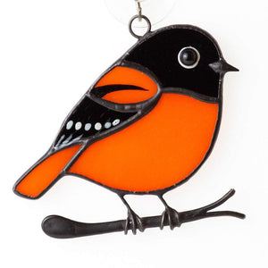 Stained glass bird suncatcher: Baltimore oriole window hangings