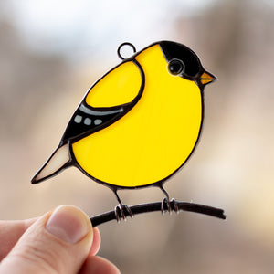 American goldfinch stained glass bird suncatcher  Edit alt text