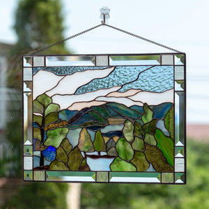 Stained glass window hangings Mount Rainier Estes park wife gift wedding parent gift Custom stained glass panel