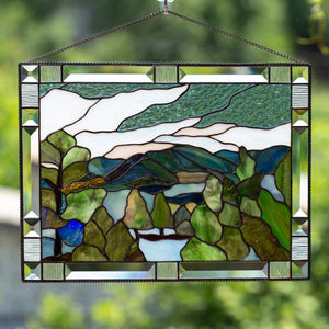 Estes Park panel of stained glass for window decoration