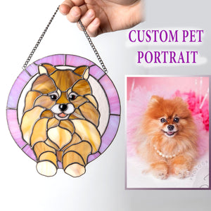 Round stained glass portrait of a dog in pink frame