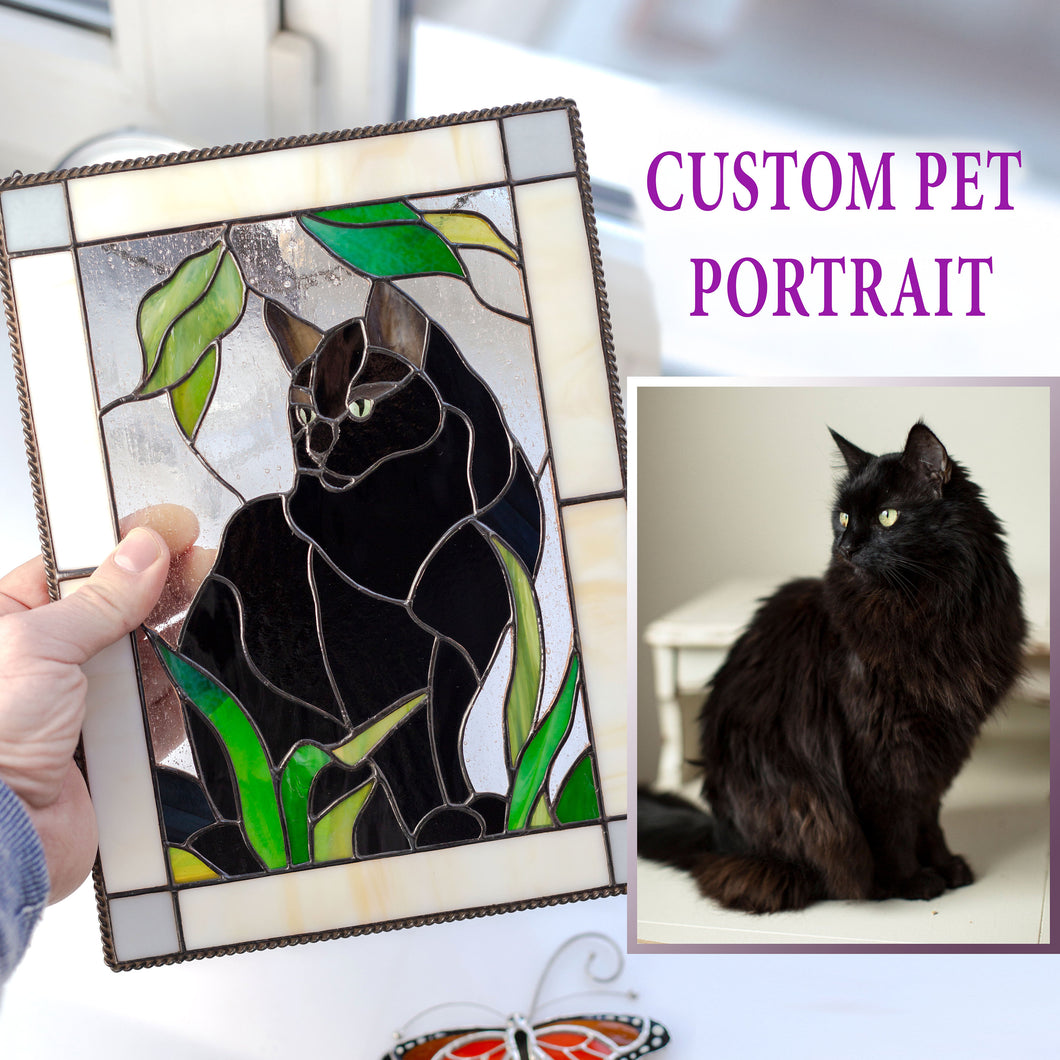 Stained glass rectangular portrait panel depicting a black pet