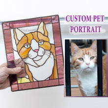 Load image into Gallery viewer, Stained glass custom rectangular portrait of a cat in pink frame made from photo