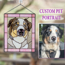 Load image into Gallery viewer, Custom stained glass portrait panel of a dog in a pink rectangular frame