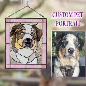 Custom stained glass portrait panel of a dog in a pink rectangular frame