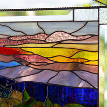 Load image into Gallery viewer, Zoomed stained glass Blue Ridge Mountains panel