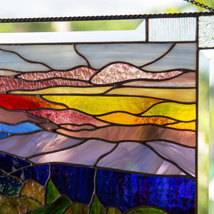 Zoomed stained glass Blue Ridge Mountains panel