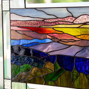 Zoomed stained glass panel of Blue Ridge Mountains