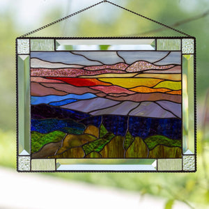 Stained glass panel depicting Blue Ridge Mountains